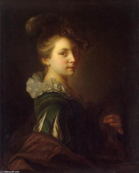 Young Woman in Theatrical Costume, 1730 by Alexis Grimou (1678-1733, France) | Museum Art Reproductions | ArtsDot.com