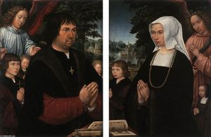 Gerard Horenbout - Portraits of Lieven van Pottelsberghe and his Wife