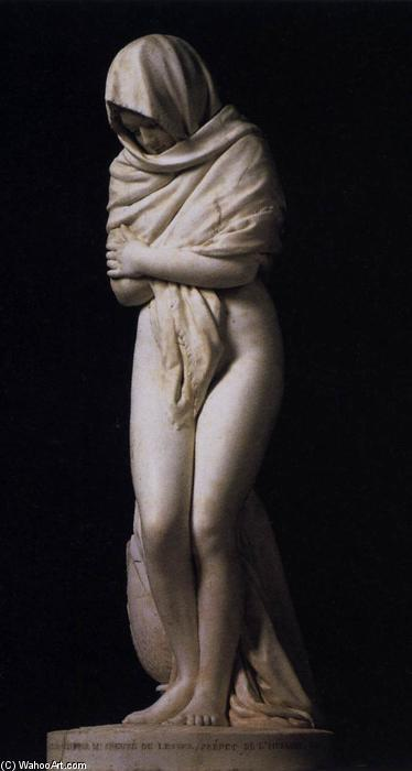 Winter (The Cold Girl), Marble by Jean Antoine Houdon (1741-1828, France)