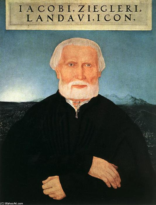 Portrait of Jacob Ziegler, Oil by Wolf Huber (1490-1553, Austria)
