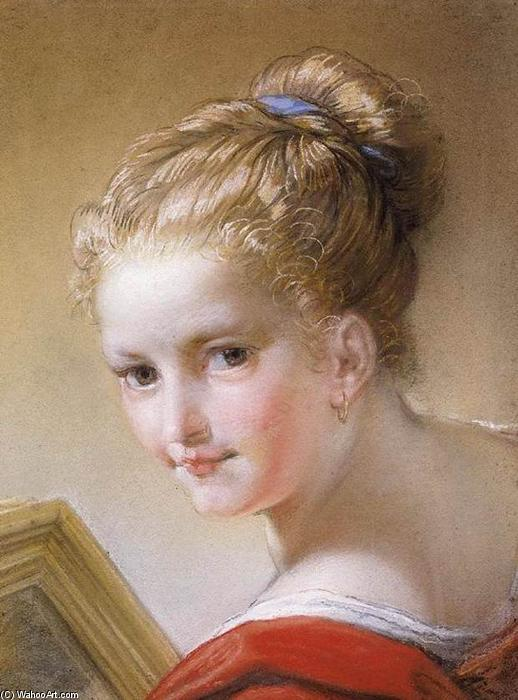Head of a Young Girl, Pastel by Benedetto Luti (1666-1724, Italy)