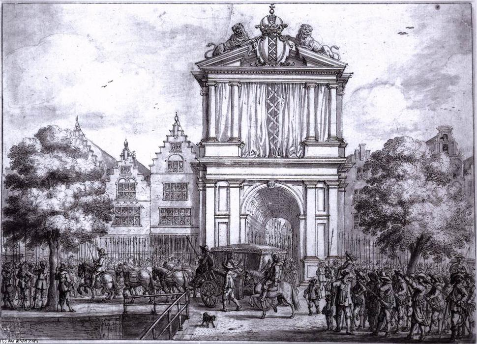 The Entry of Maria de' Medici to Amsterdam, Ink by Jan The Younger Martszen (1609-1647, Netherlands)