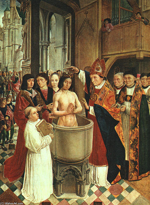 The Baptism of Clovis, 1500 by Master Of Saint Gilles | Museum Art Reproductions Master Of Saint Gilles | ArtsDot.com