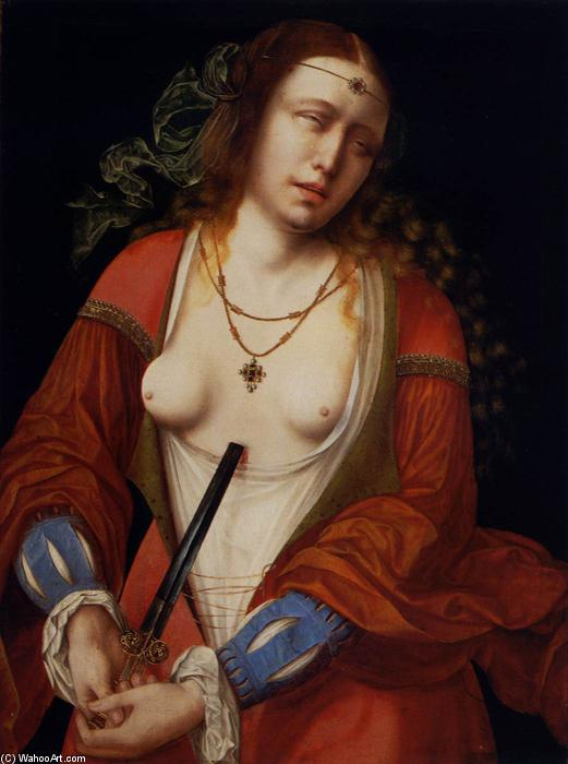 Lucretia, Oil On Panel by Master Of The Holy Blood