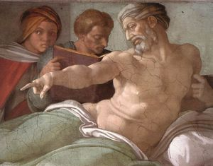 Michelangelo Buonarroti - Punishment of Haman (detail)