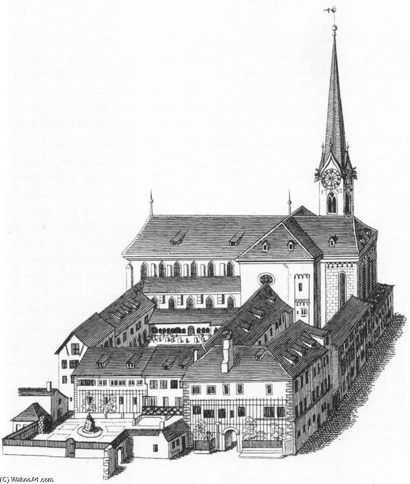 The Fraumünsterkirche in Zurich, Engraving by Heinrich Keller (1906-1990, Germany)