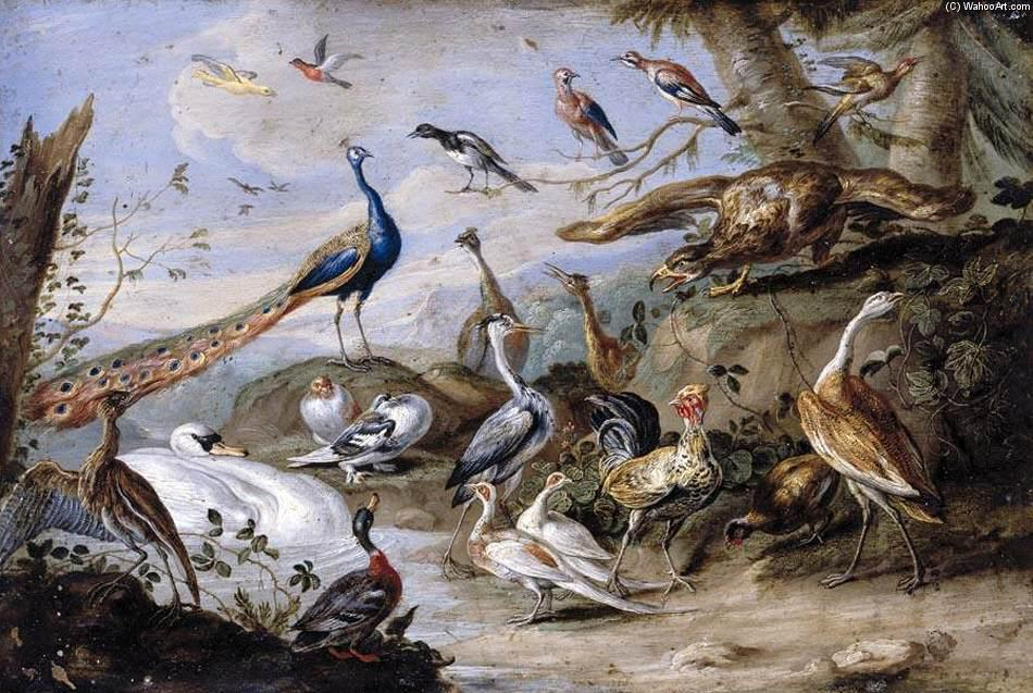 Birds on a Riverbank, Oil On Copper by Jan Van Kessel (1641-1680, Belgium)