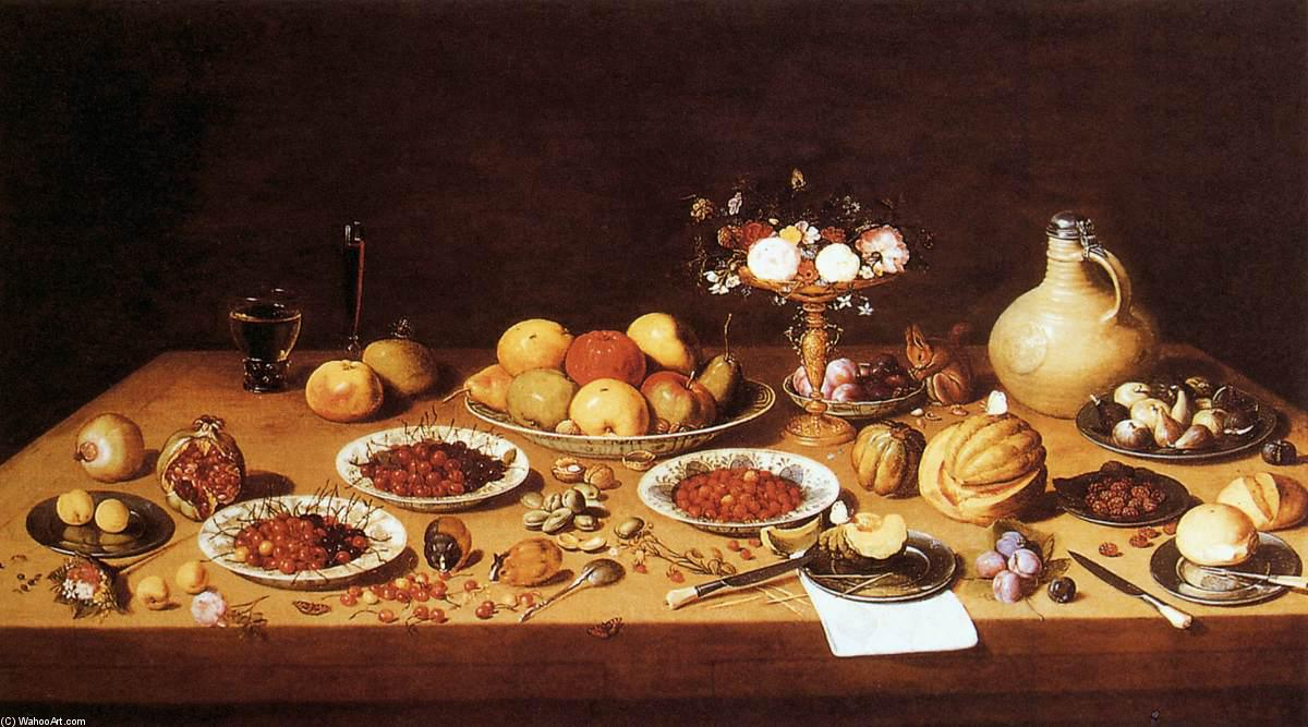 Still-Life on a Table with Fruit and Flowers, Oil On Copper by Jan Van Kessel (1641-1680, Belgium)