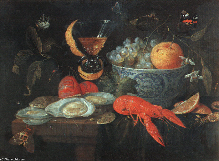 Still-Life with Fruit and Shellfish, Oil On Canvas by Jan Van Kessel (1641-1680, Belgium)