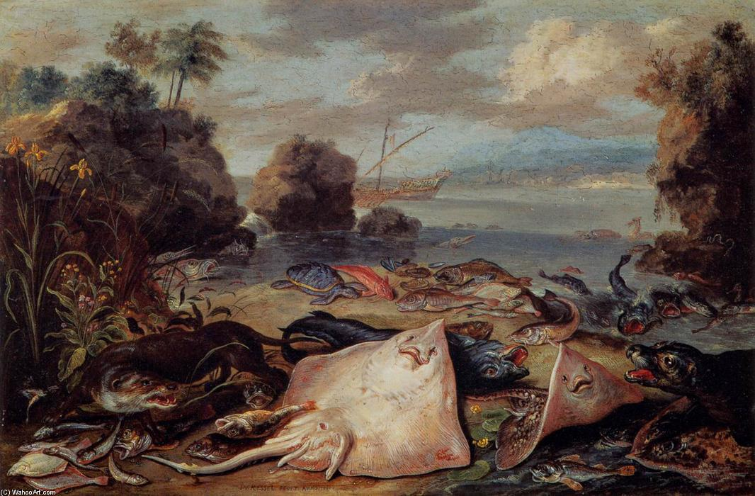 The Day's Catch, Oil On Copper by Jan Van Kessel (1641-1680, Belgium)