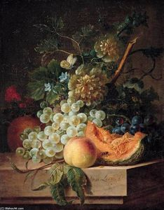 Willem Van Leen - Still-Life with Fruit and..