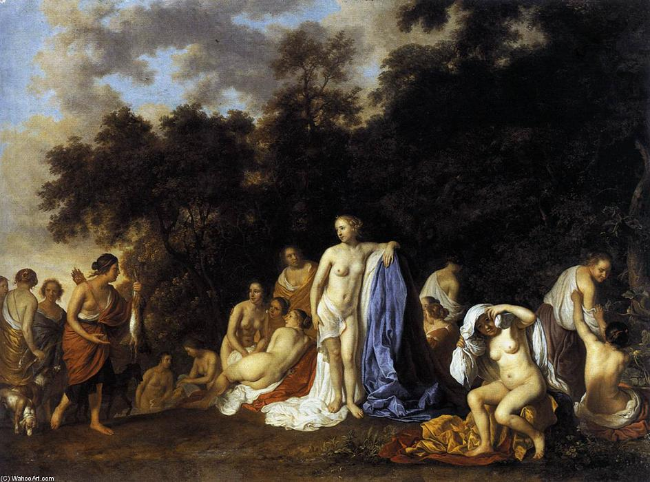 Diana and Her Nymphs, Oil On Canvas by Jacob Van Loo (1614-1670, Netherlands)