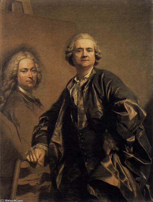 The Artist with a Portrait of his Father, Oil On Canvas by Louis Michel Van Loo (1707-1771, France)