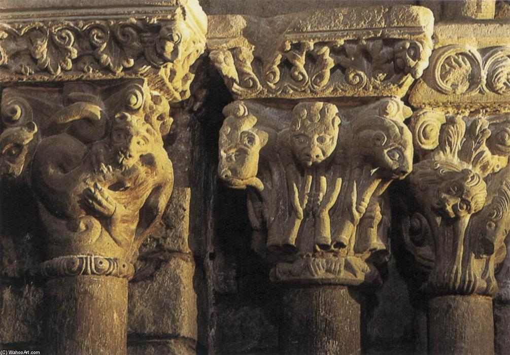 Group of capitals, 1150 by Master Of Cabestany (1130-1180, Italy) | Museum Quality Reproductions | ArtsDot.com