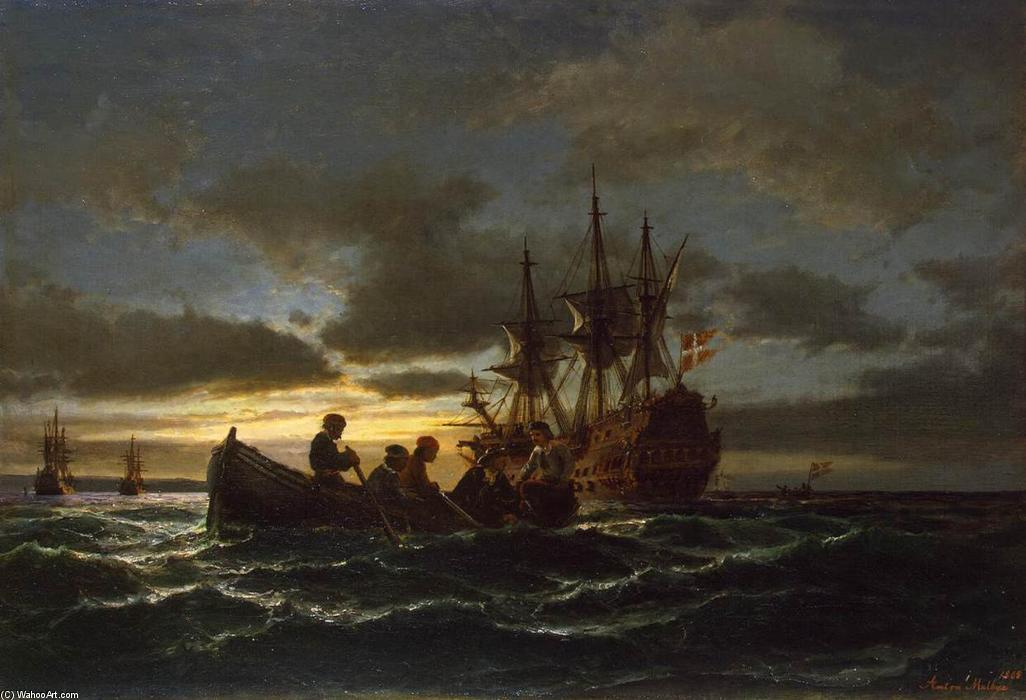 Sea at Night, 1865 by Anton Melbye (Daniel Herman Anton Melbye) (1818-1875) | Oil Painting | ArtsDot.com