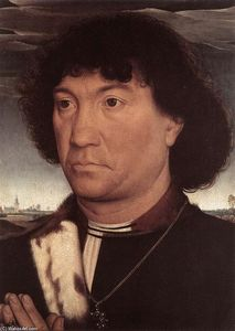 Hans Memling - Portrait of a Man at Prayer before a Landscape
