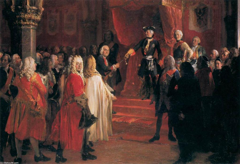 The Allegiance of the Silesian Diet before Frederick II in Breslau, Oil On Canvas by Adolph Menzel (1815-1905, Poland)