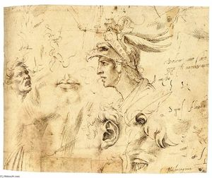 Michelangelo Buonarroti - Helmeted Head of a Youth, and Other Studies (recto)
