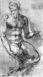 Michelangelo Buonarroti - Nude Man from the Front