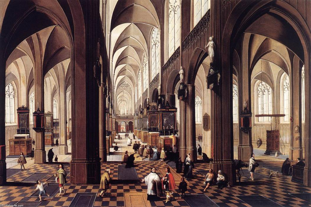 Interior of Antwerp Cathedral, Oil by Peeter Neeffs The Younger (1620-1675, Belgium)