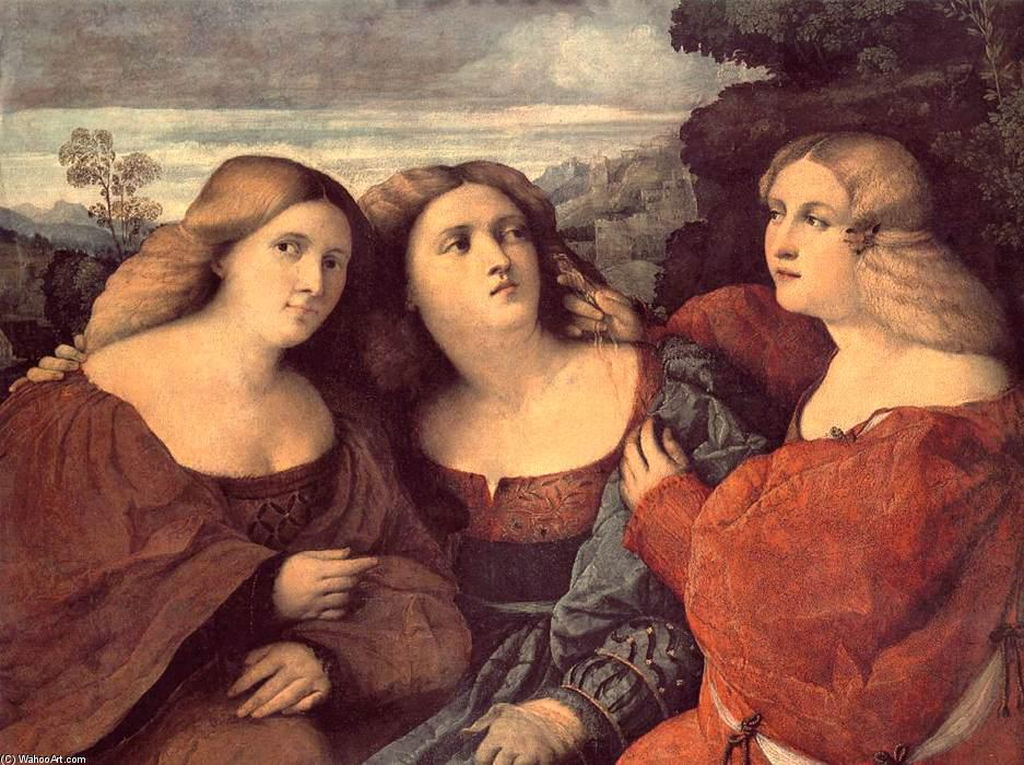 The Three Sisters (detail), Oil by Palma Vecchio (1480-1528)