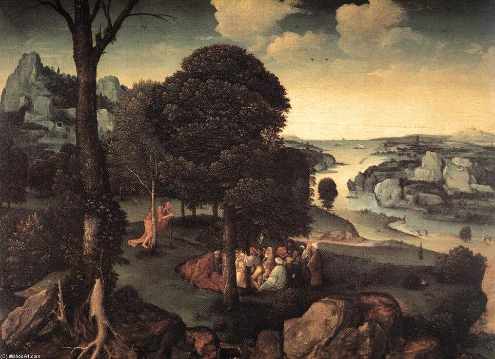 Landscape with St John the Baptist Preaching, Oak by Joachim Patenier (1481-1524, Belgium)
