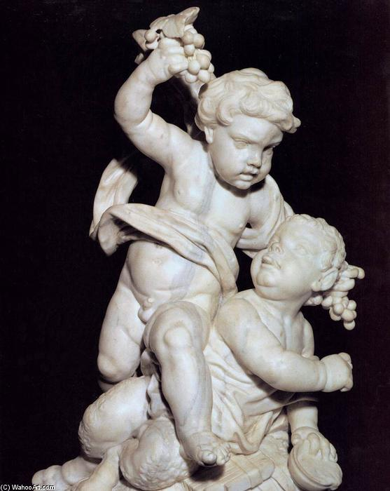 Playful Faun and Satyr, Marble by Giuseppe Piamontini (1664-1742, Italy)