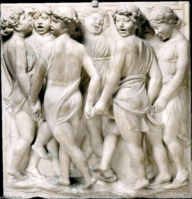 Cantoria: first bottom relief, Marble by Luca Della Robbia (1399-1482, Italy)