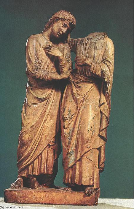 Christ and Thomas, Terracotta by Luca Della Robbia (1399-1483, Italy)