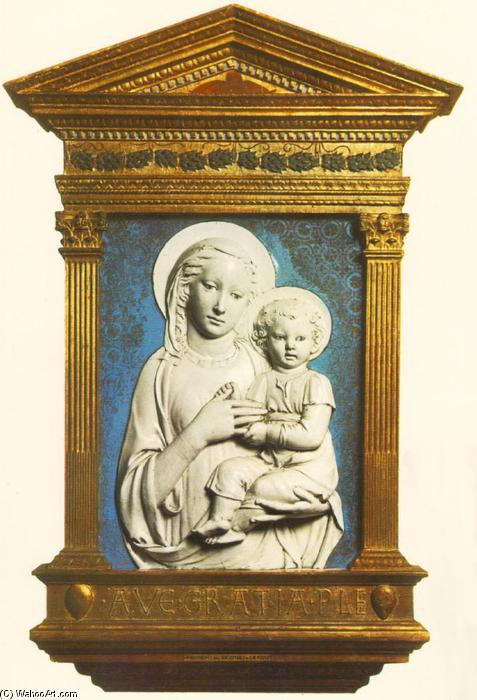 Madonna and Child, Terracotta by Luca Della Robbia (1399-1483, Italy)