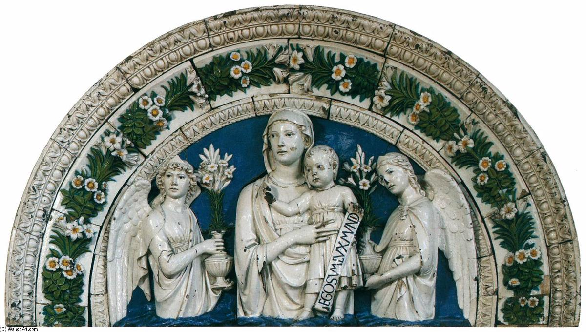 Madonna and Child between Angels, Terracotta by Luca Della Robbia (1399-1483, Italy)