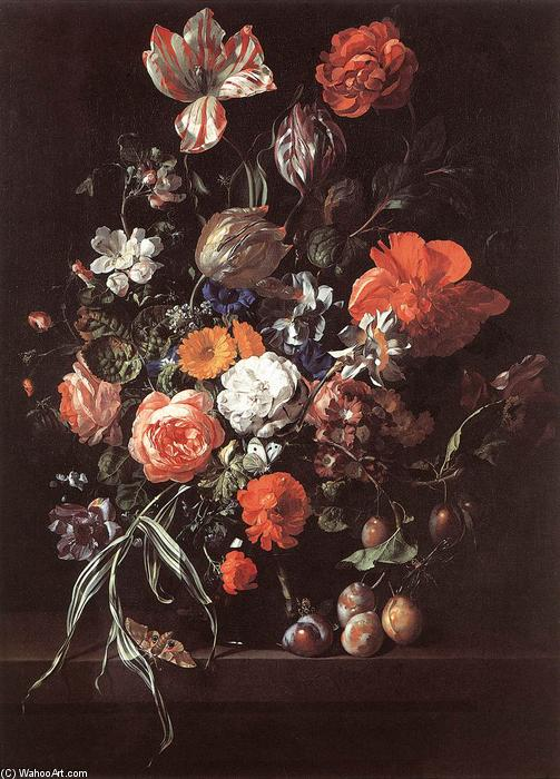 Still-Life with Bouquet of Flowers and Plums by Rachel Ruysch (1664-1750, Netherlands) | Painting Copy | ArtsDot.com