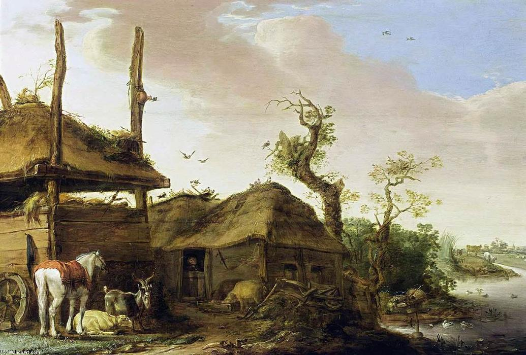 A Farmstead Near a Stream, Oil On Panel by Cornelis Saftleven (Cornelis Zachtleven) (1607-1681, Netherlands)