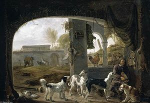 Cornelis Saftleven (Cornelis Z.. - Huntsman Feeding His Dogs