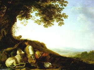 Herman Saftleven The Younger - Hunter Sleeping on a Hillside