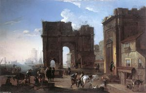 Alessandro Salucci - Harbour View with Triumphal Arch