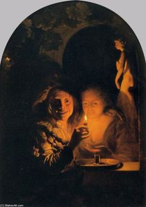 Godfried Schalcken - Lovers Lit by a Candle
