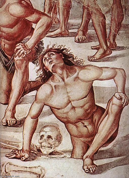 Resurrection of the Flesh (detail), Frescoes by Luca Signorelli (1445-1523, Italy)