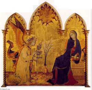 Simone Martini - The Annunciation and the Two Saints (detail)