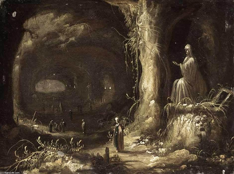 Interior of a Grotto, Oil On Copper by Rombout Van Troyen (1605-1655, Netherlands)