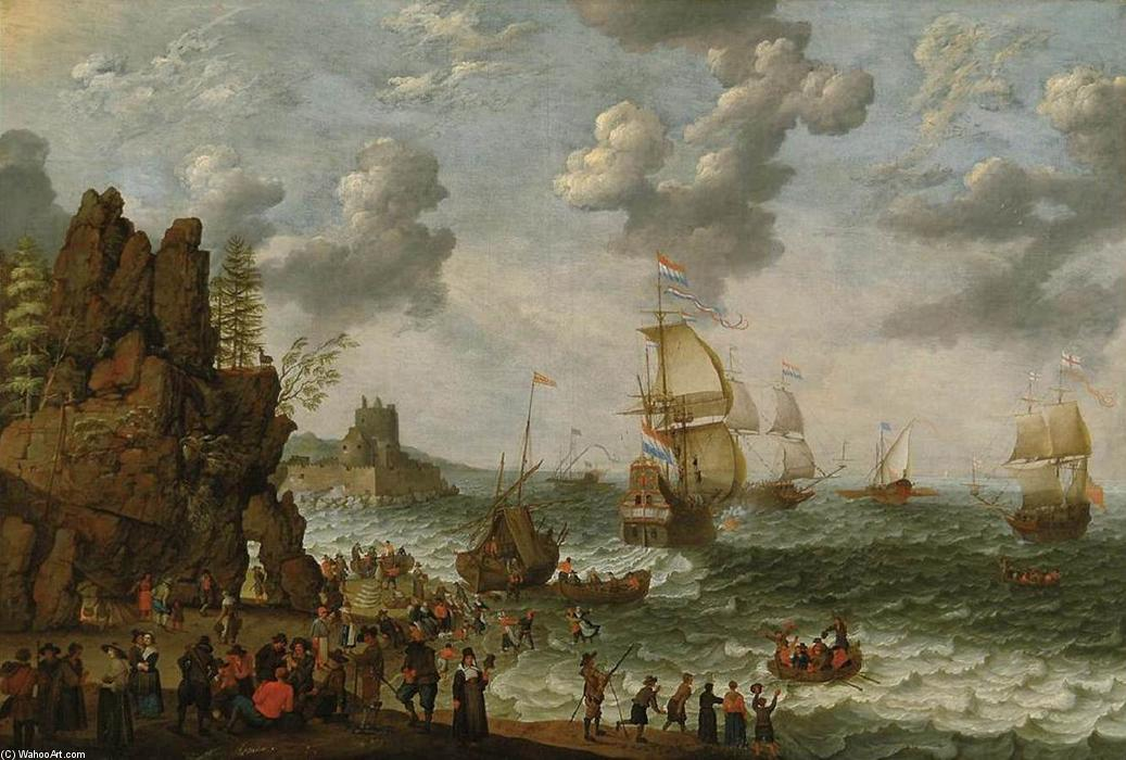 Order Oil Painting : Ships off Rocky Coast, 1647 by Abraham Willaerts (1613-1669, Netherlands) | ArtsDot.com