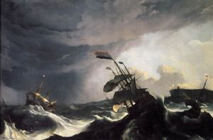 Ludolf Backhuysen - Ships in Distress in a Ra..