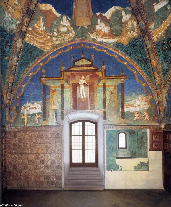 View of the southeast window wall, Frescoes by Benedetto Bembo (1423-1489, Italy)