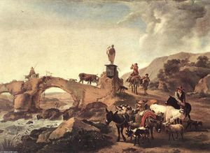 Nicolaes Berchem - Italian Landscape with Br..