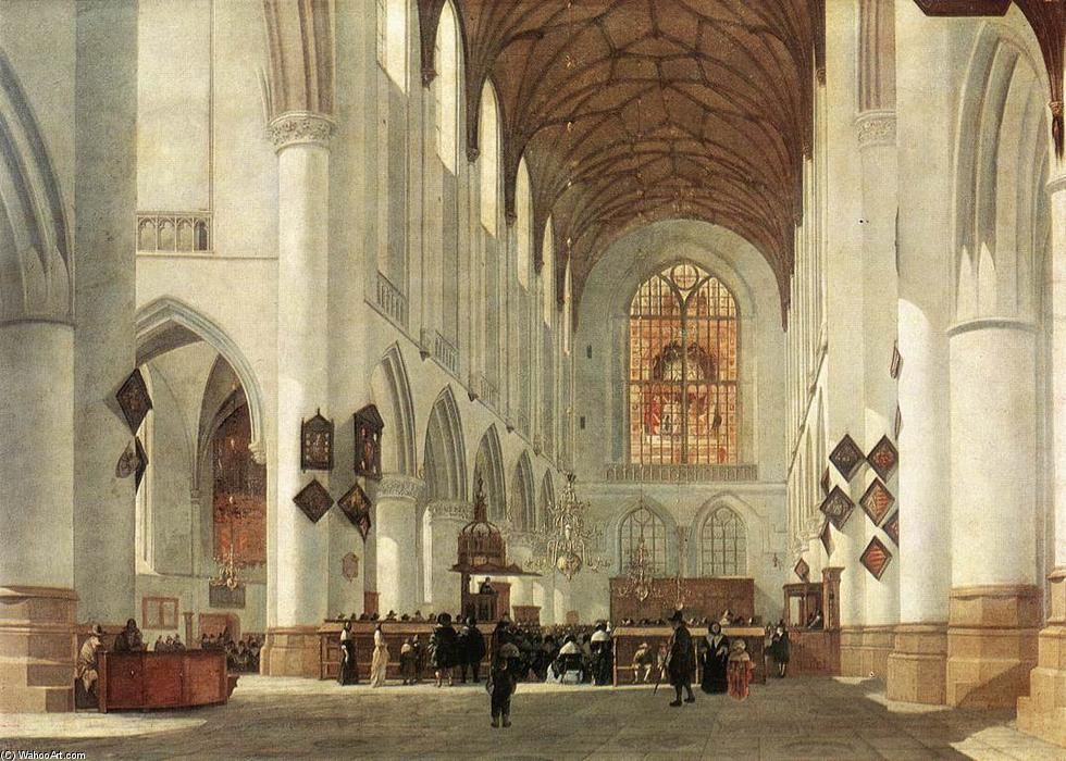 Interior of the St Bavo Church at Haarlem, Oil by Job Adriaensz Berckheyde (1630-1693, Netherlands)