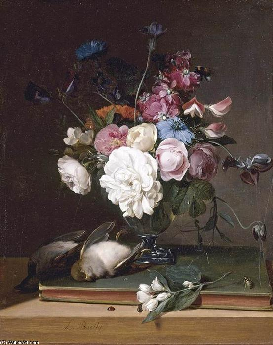 Still-Life of Flowers in a Glass Vase, Oil On Panel by Louis Léopold Boilly (1761-1845, France)