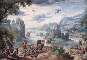Hans Bol - Landscape with the Fall of Icarus