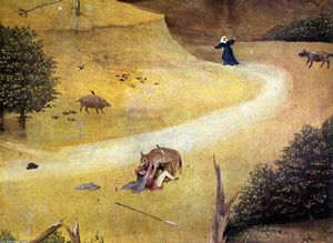 Hieronymus Bosch - St Agnes with the Donor (right wing, detail)