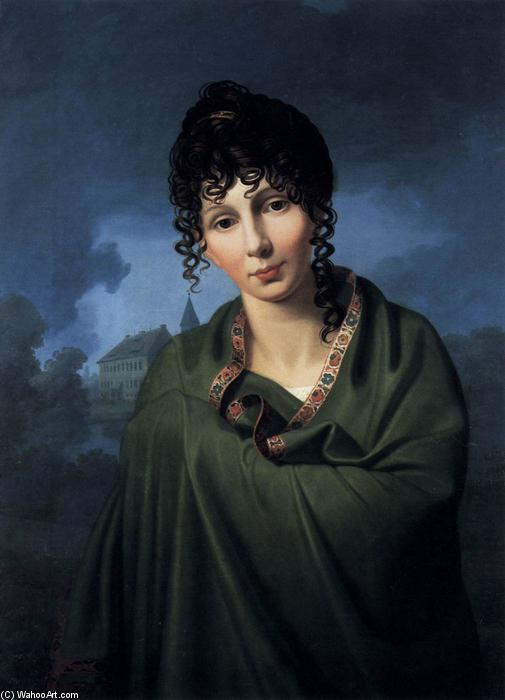 Countess Luise von Voss, Oil On Canvas by Friedrich Bury (1763-1823, Germany)