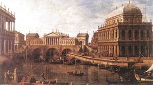 Giovanni Antonio Canal (Canaletto) - Capriccio: a Palladian Design for the Rialto Bridge, with Buildings at Vicenza